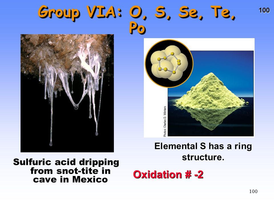 Group VIA: O, S, Se, Te, Po Oxidation # -2