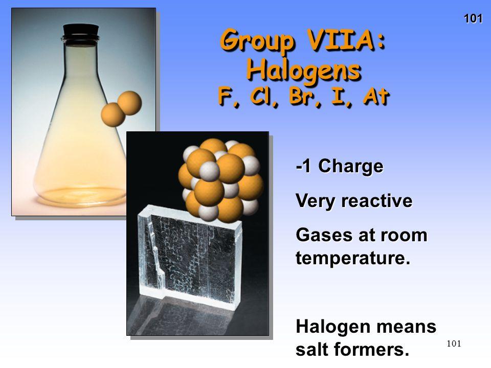 Group VIIA: Halogens F, Cl, Br, I, At