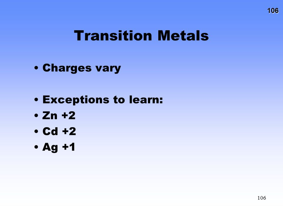 Transition Metals Charges vary Exceptions to learn: Zn +2 Cd +2 Ag +1
