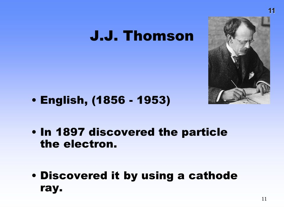 J.J. Thomson English, (1856 - 1953) In 1897 discovered the particle the electron.