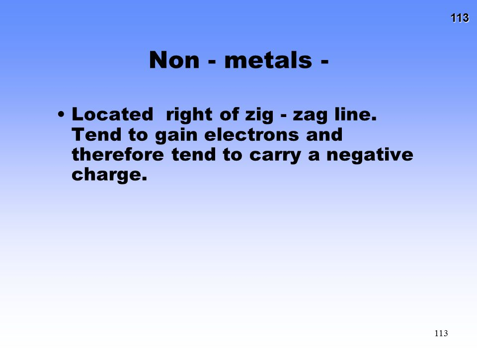Non - metals - Located right of zig - zag line.