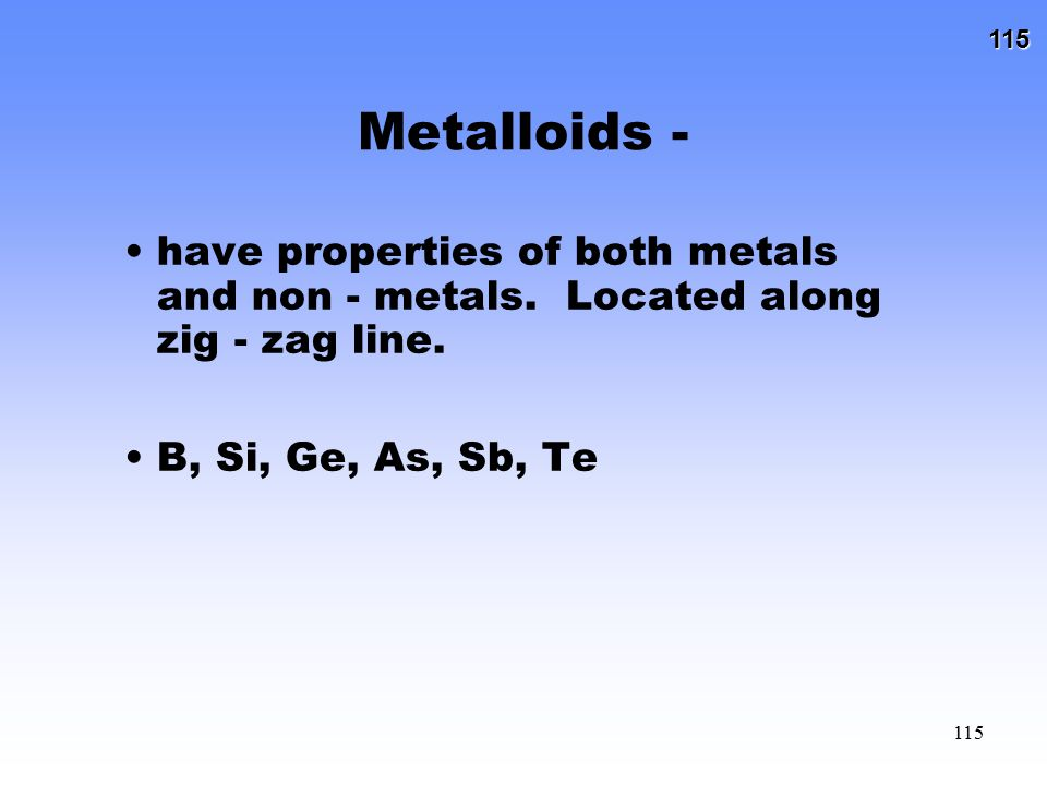 Metalloids - have properties of both metals and non - metals.