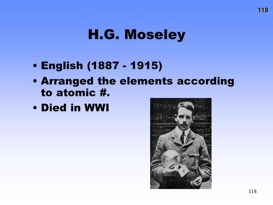 H.G. Moseley English (1887 - 1915) Arranged the elements according to atomic #. Died in WWI