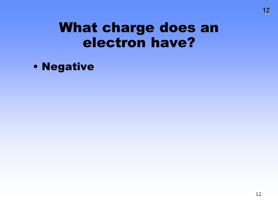 What charge does an electron have