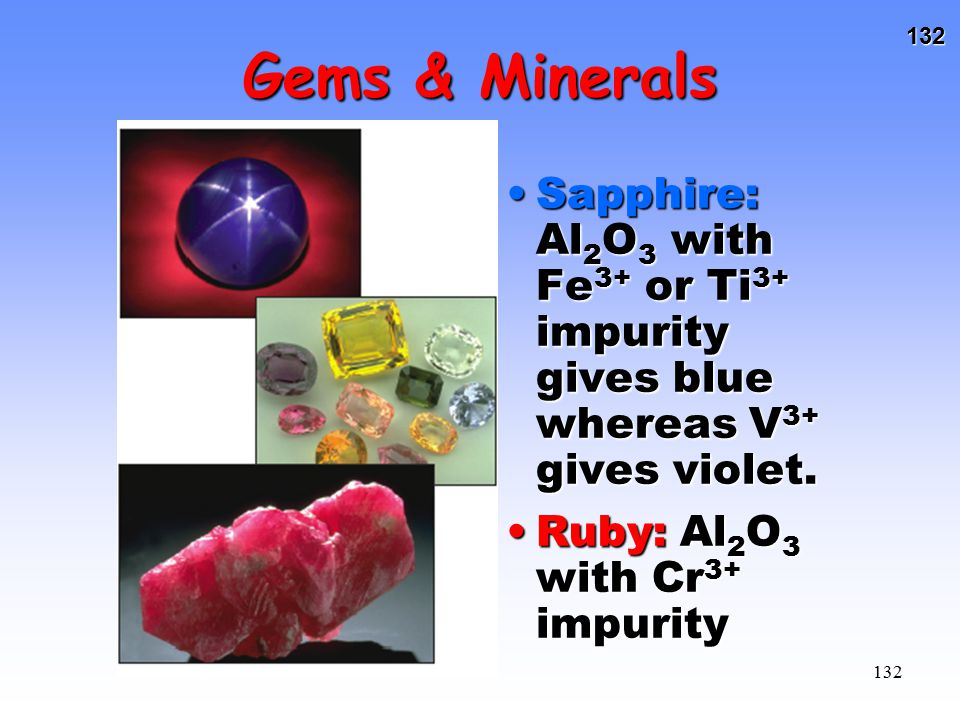 Gems & Minerals Sapphire: Al2O3 with Fe3+ or Ti3+ impurity gives blue whereas V3+ gives violet.
