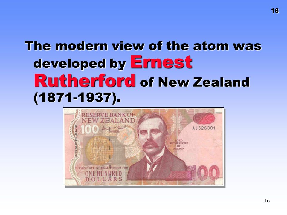 The modern view of the atom was developed by Ernest Rutherford of New Zealand (1871-1937).