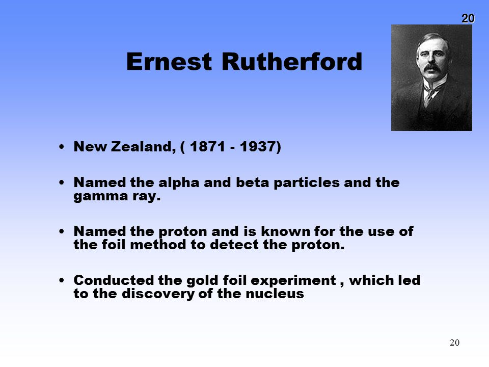 Ernest Rutherford New Zealand, ( 1871 - 1937)