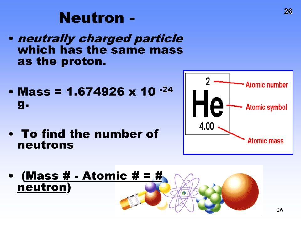 Neutron - neutrally charged particle which has the same mass as the proton. Mass = 1.674926 x 10 -24 g.