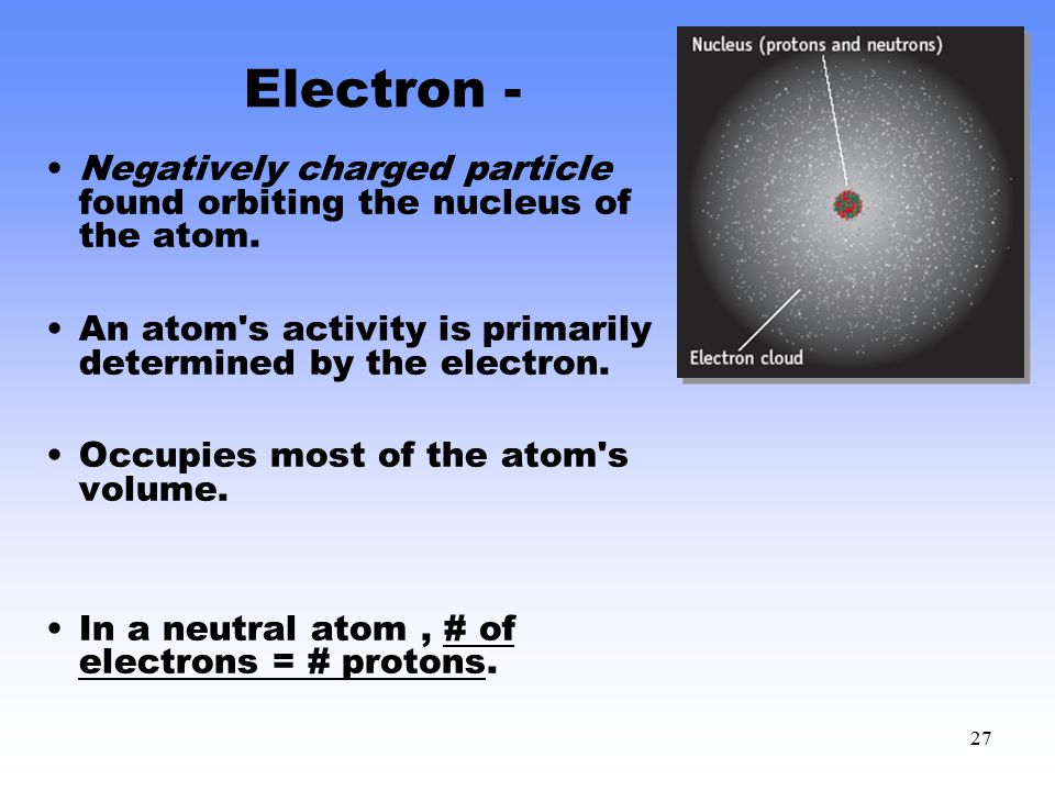 Electron - Negatively charged particle found orbiting the nucleus of the atom. An atom s activity is primarily determined by the electron.