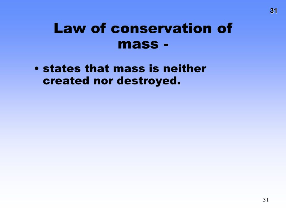 Law of conservation of mass -
