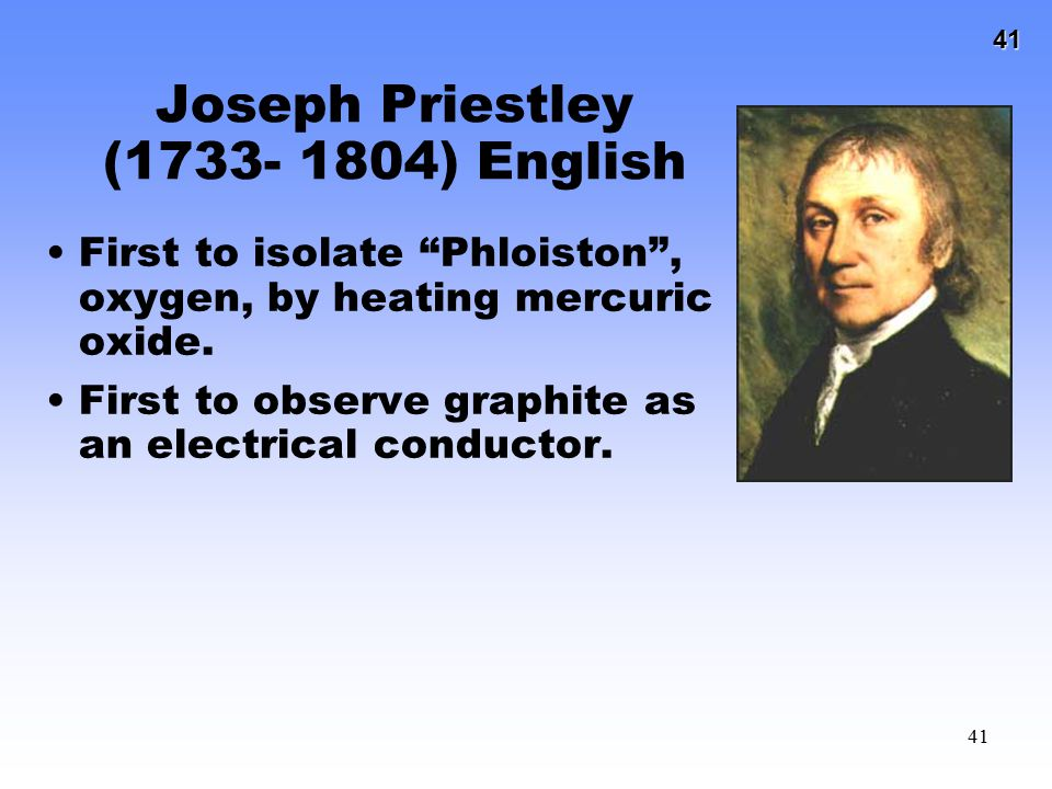 Joseph Priestley (1733- 1804) English