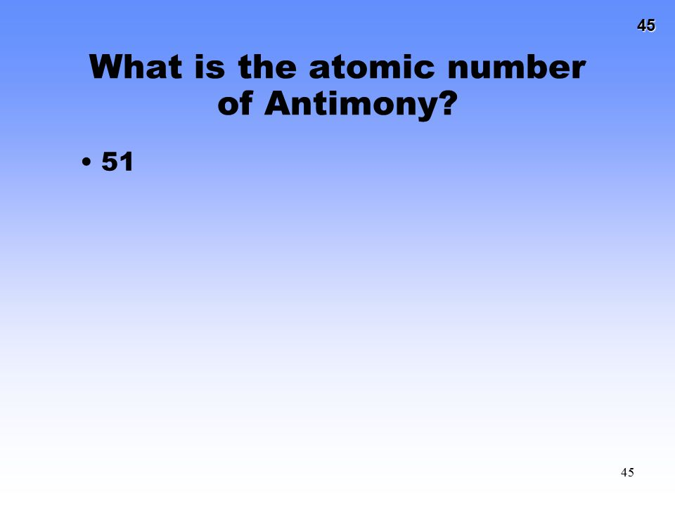 What is the atomic number of Antimony