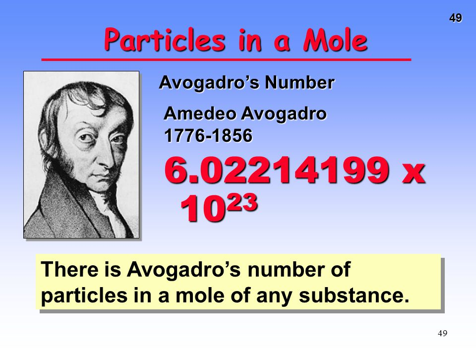 Particles in a Mole Avogadro's Number. Amedeo Avogadro. 1776-1856. 6.02214199 x 1023.
