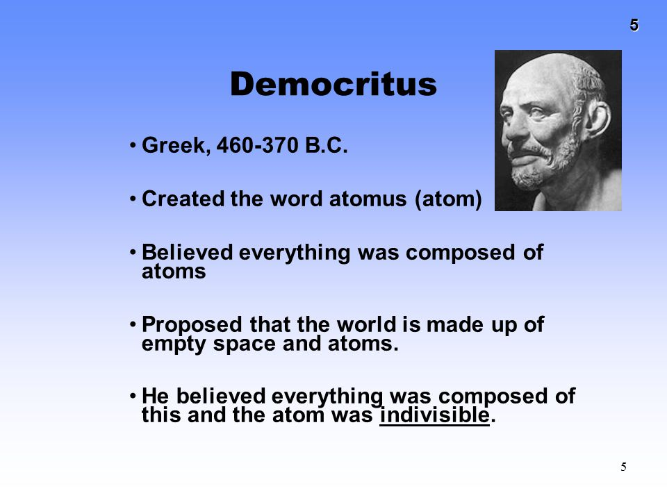 Democritus Greek, 460-370 B.C. Created the word atomus (atom)