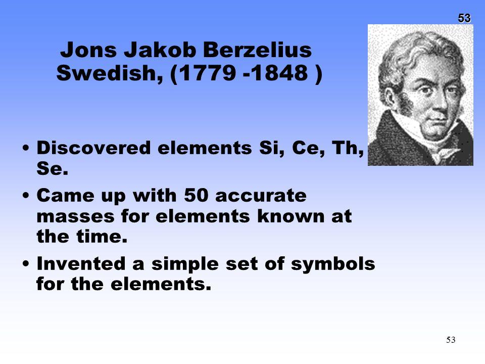 Jons Jakob Berzelius Swedish, (1779 -1848 )