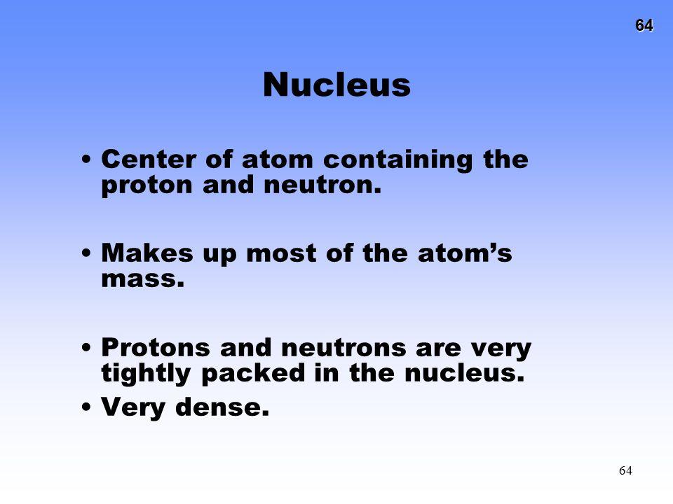 Nucleus Center of atom containing the proton and neutron.