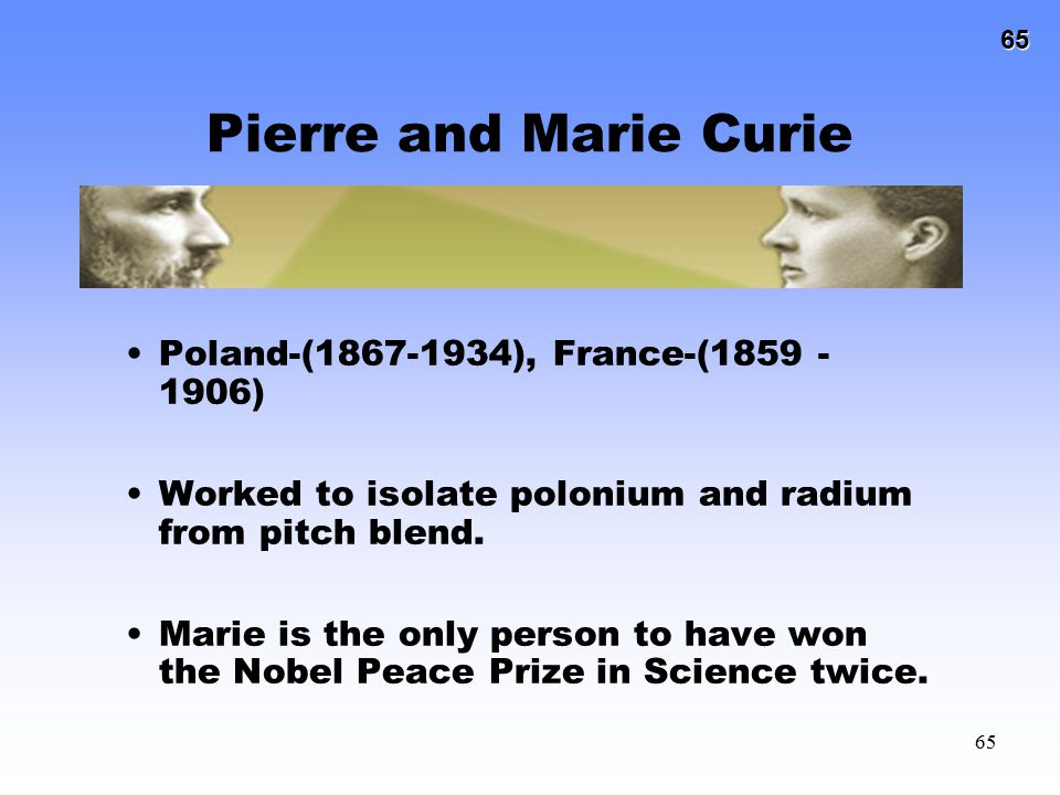 Pierre and Marie Curie Poland-(1867-1934), France-(1859 - 1906)