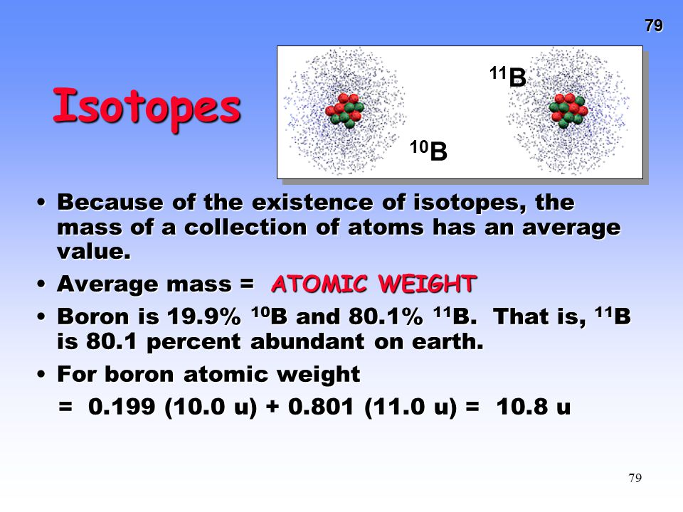 10B 11B. Isotopes. Because of the existence of isotopes, the mass of a collection of atoms has an average value.