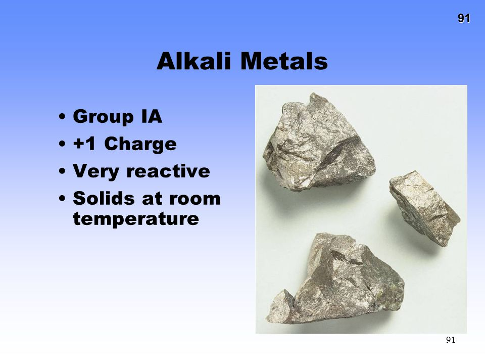 Alkali Metals Group IA +1 Charge Very reactive