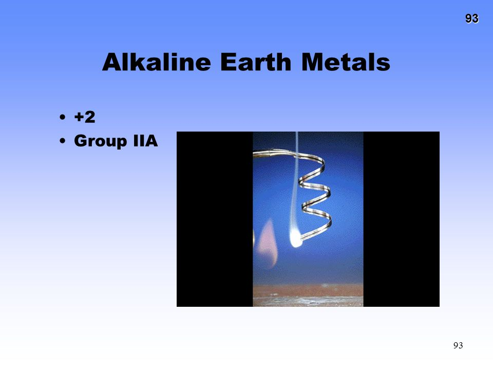 Alkaline Earth Metals +2 Group IIA