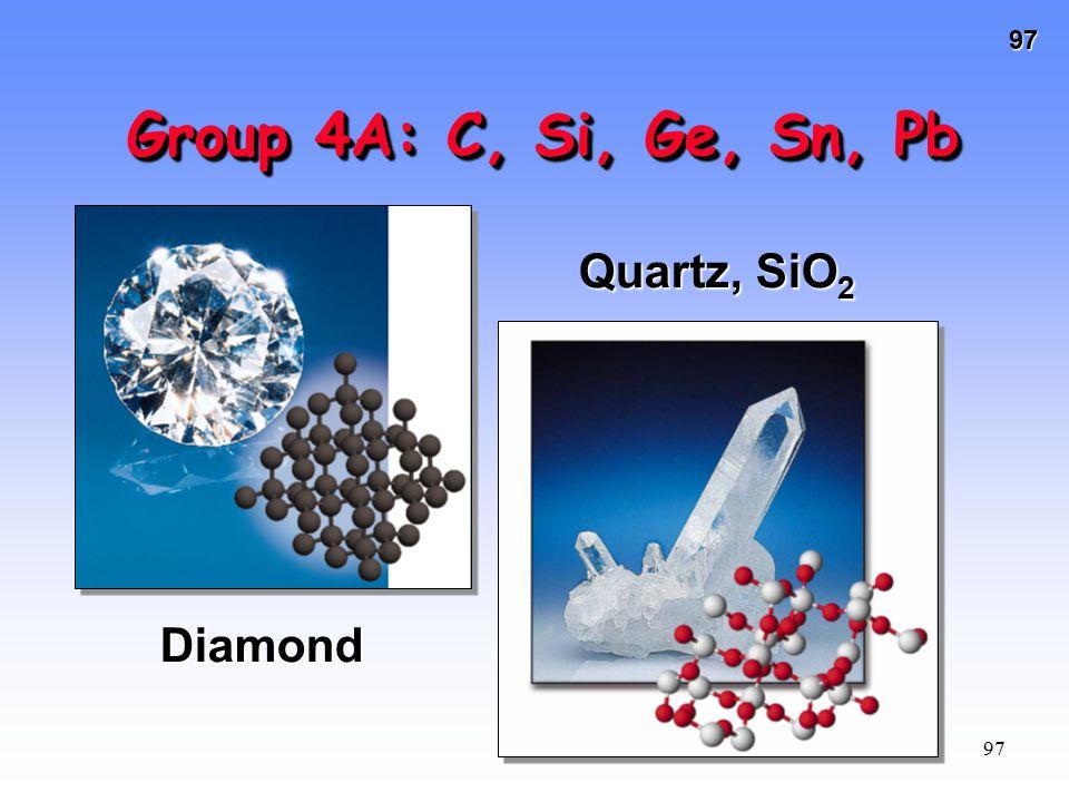 Group 4A: C, Si, Ge, Sn, Pb Quartz, SiO2 Diamond