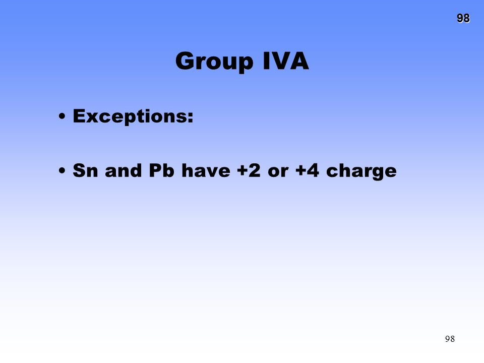Group IVA Exceptions: Sn and Pb have +2 or +4 charge