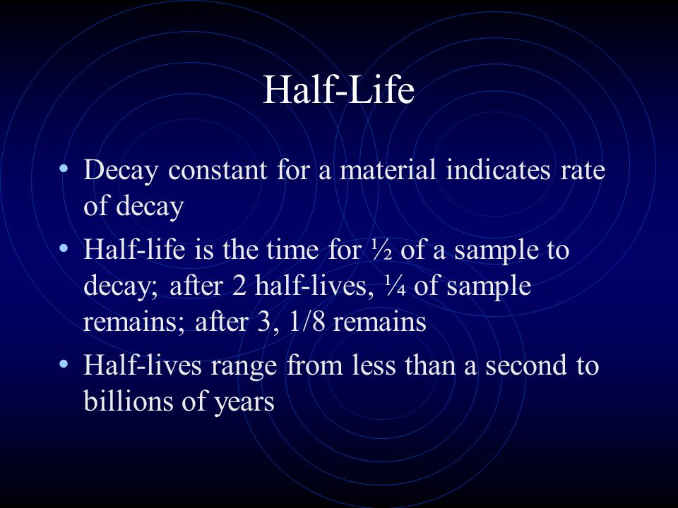 Half-Life Decay constant for a material indicates rate of decay