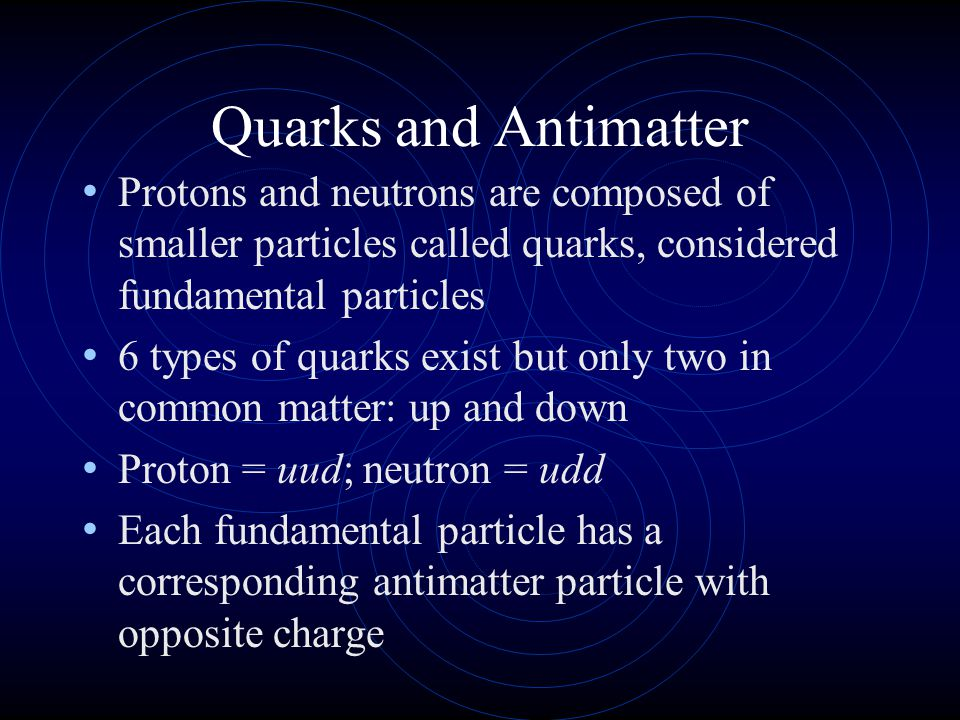 Quarks and Antimatter Protons and neutrons are composed of smaller particles called quarks, considered fundamental particles.