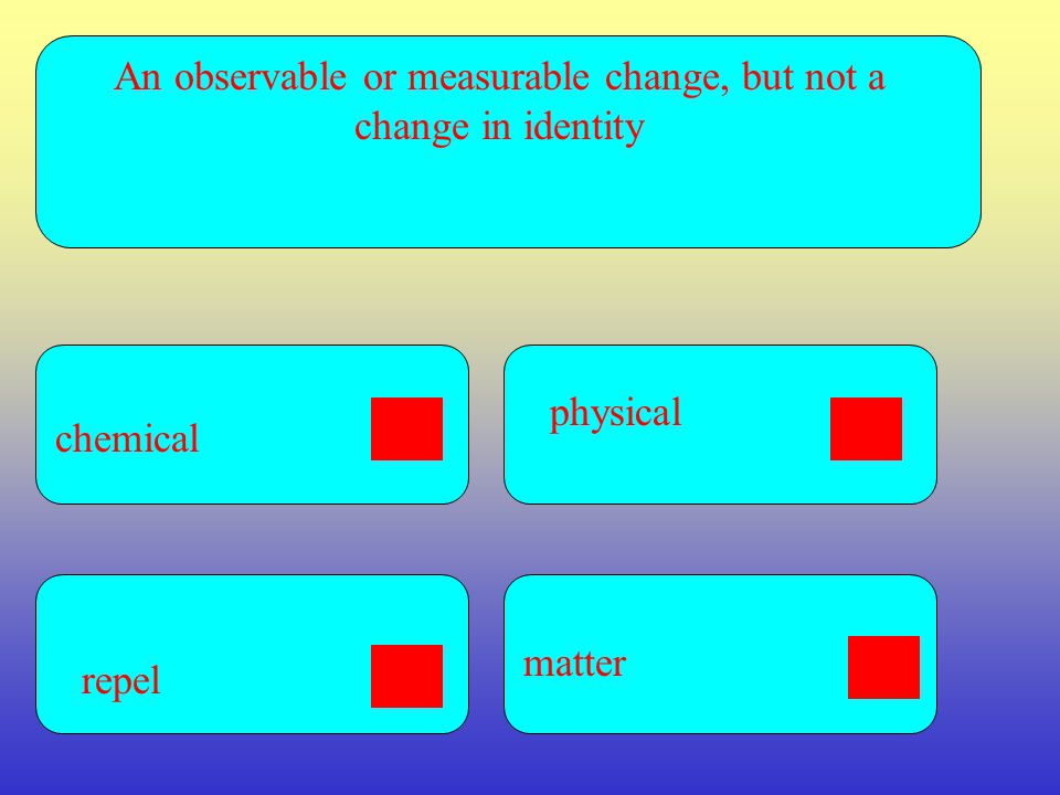 An observable or measurable change, but not a change in identity