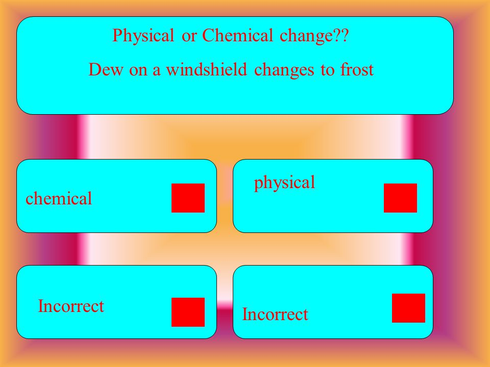 Physical or Chemical change Dew on a windshield changes to frost