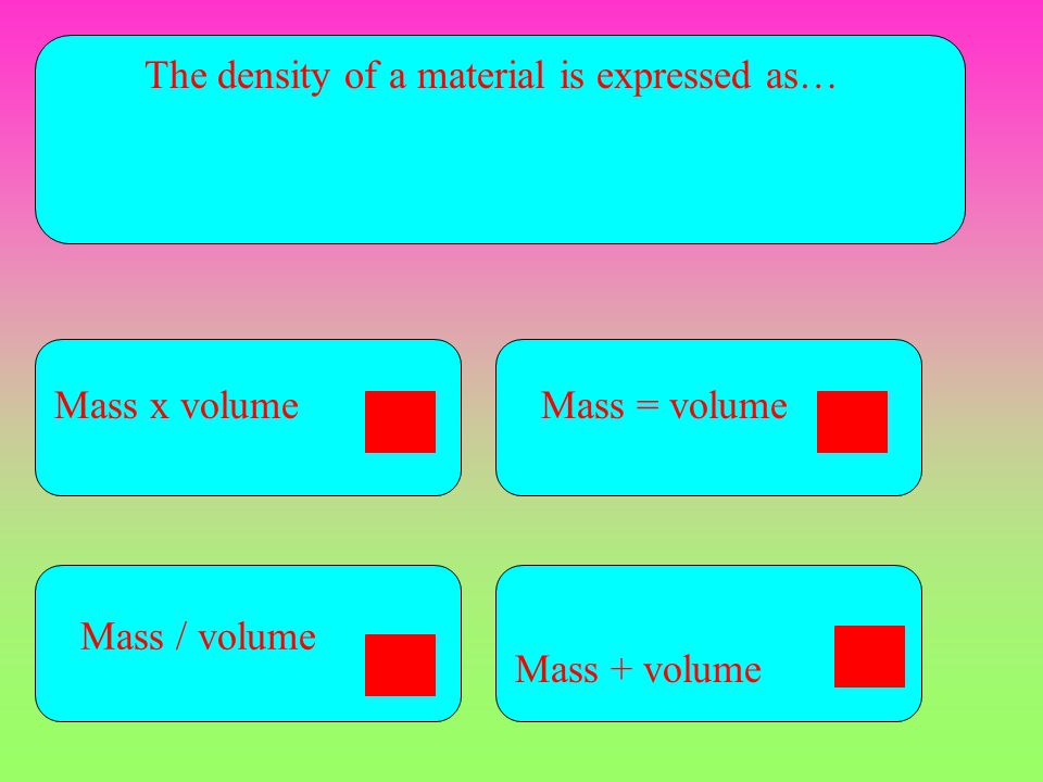 The density of a material is expressed as…