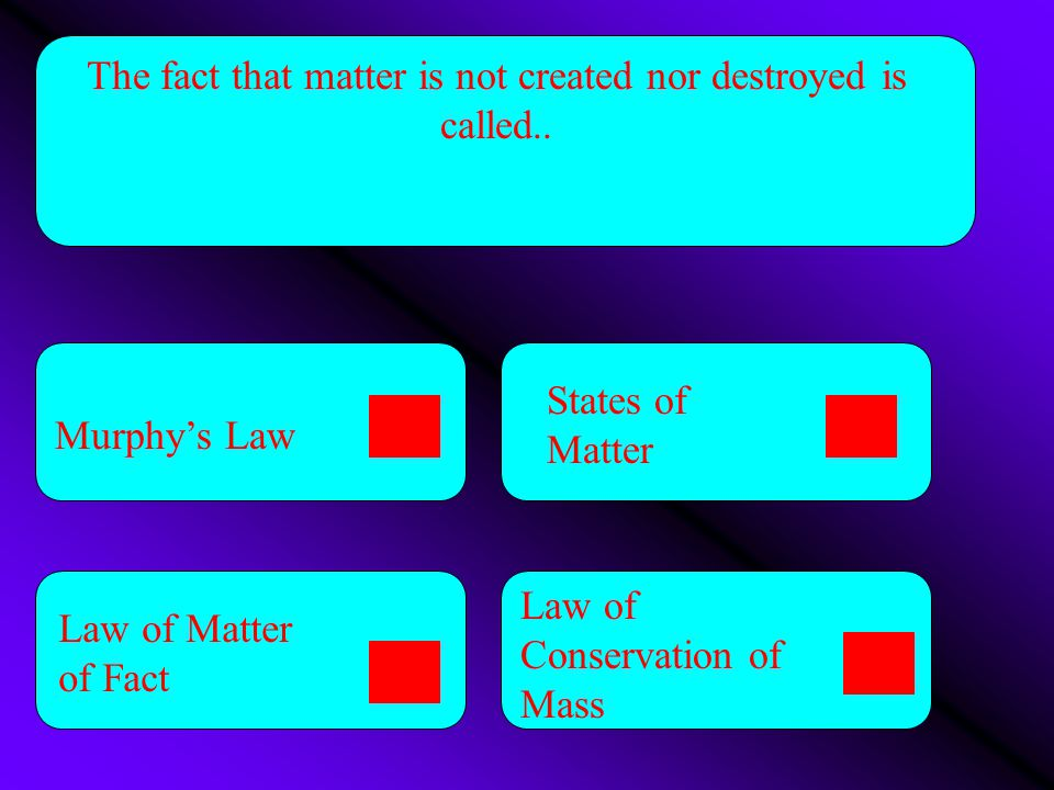 The fact that matter is not created nor destroyed is called..