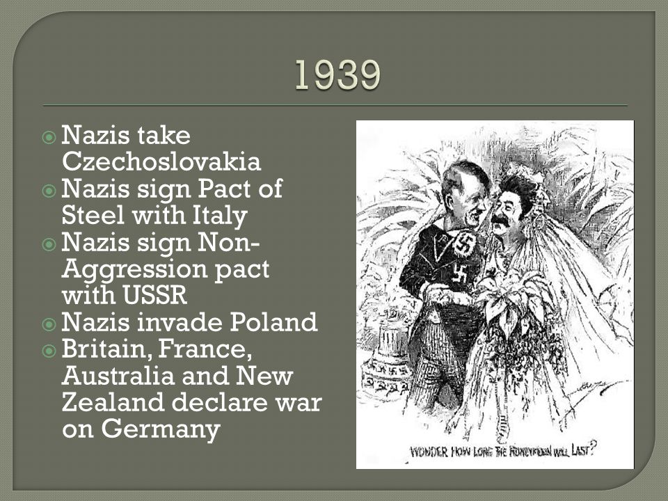 1939 Nazis take Czechoslovakia Nazis sign Pact of Steel with Italy