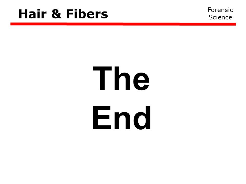 Hair & Fibers Forensic Science The End