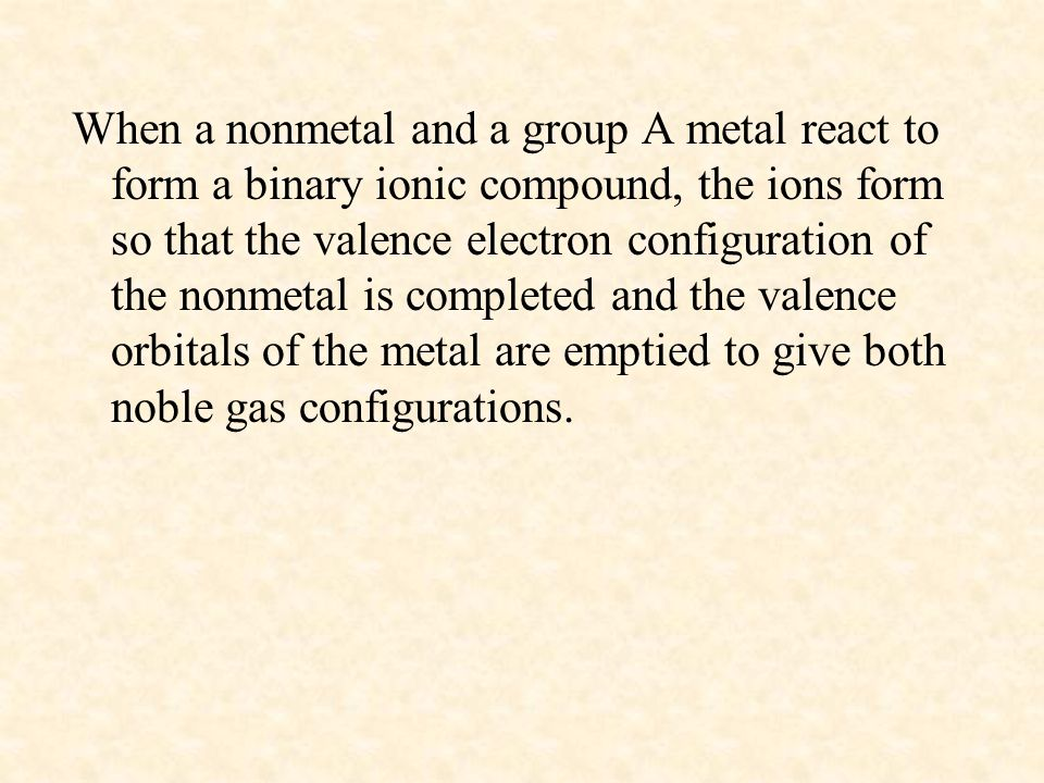 When a nonmetal and a group A metal react to form a binary ionic compound, the ions form so that the valence electron configuration of the nonmetal is completed and the valence orbitals of the metal are emptied to give both noble gas configurations.