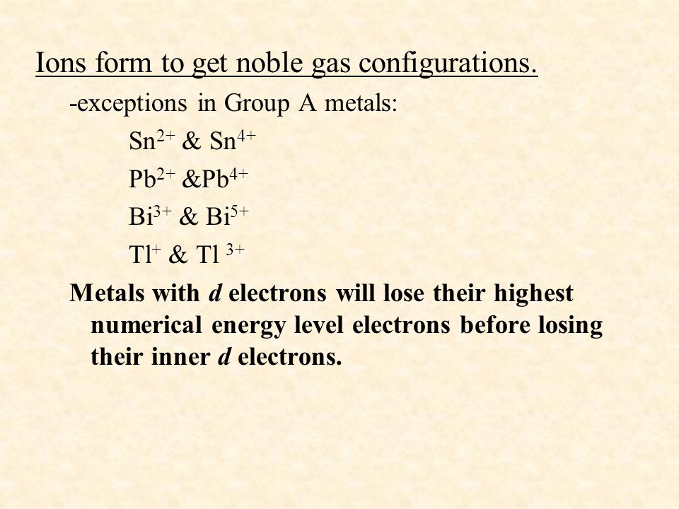Ions form to get noble gas configurations.
