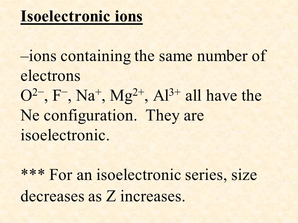 Isoelectronic ions –ions containing the same number of electrons O2−, F−, Na+, Mg2+, Al3+ all have the Ne configuration.