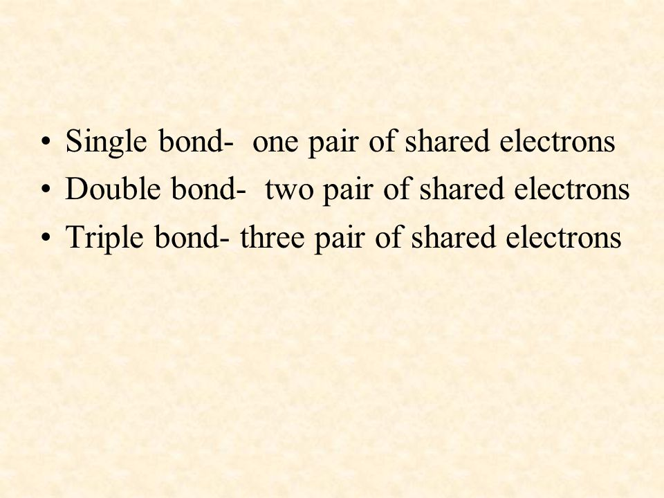 Single bond- one pair of shared electrons