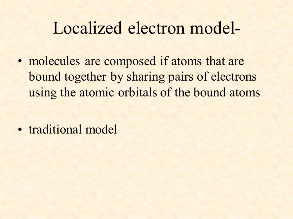 Localized electron model-