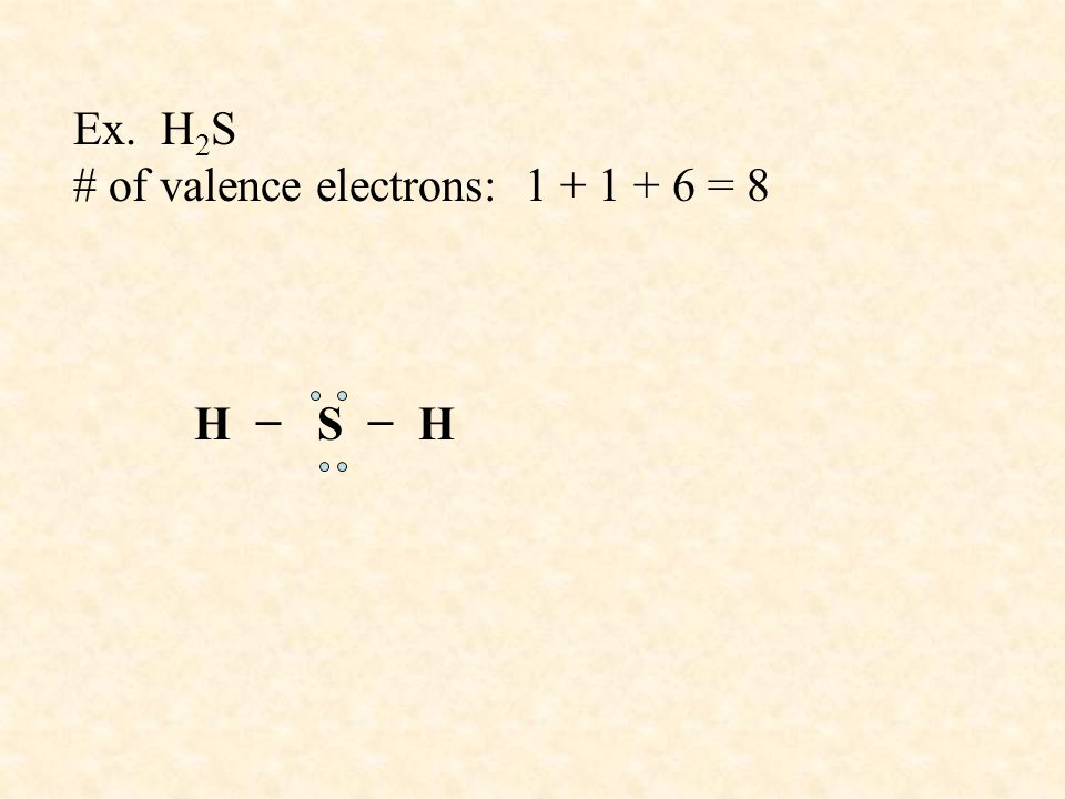 Ex. H2S # of valence electrons: 1 + 1 + 6 = 8