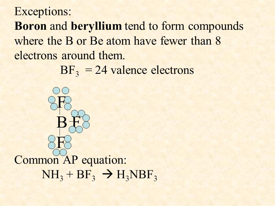 Exceptions: Boron and beryllium tend to form compounds where the B or Be atom have fewer than 8 electrons around them.