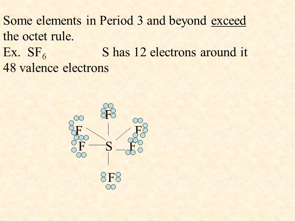 Some elements in Period 3 and beyond exceed the octet rule. Ex