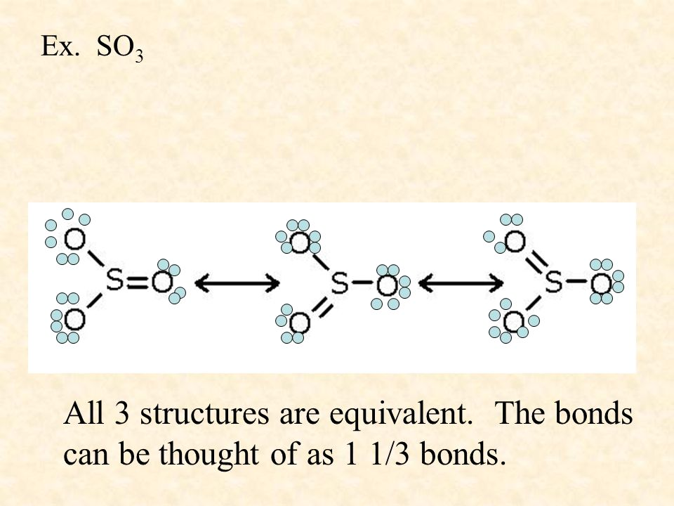 Ex. SO3 All 3 structures are equivalent. The bonds can be thought of as 1 1/3 bonds.