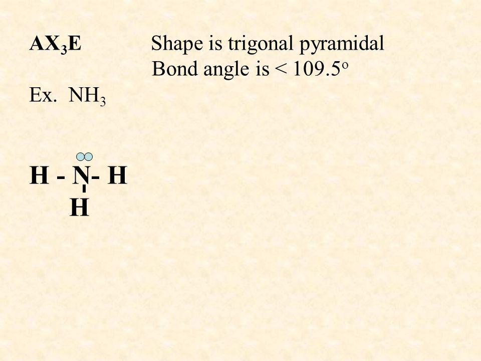 AX3E Shape is trigonal pyramidal Bond angle is < 109. 5o Ex