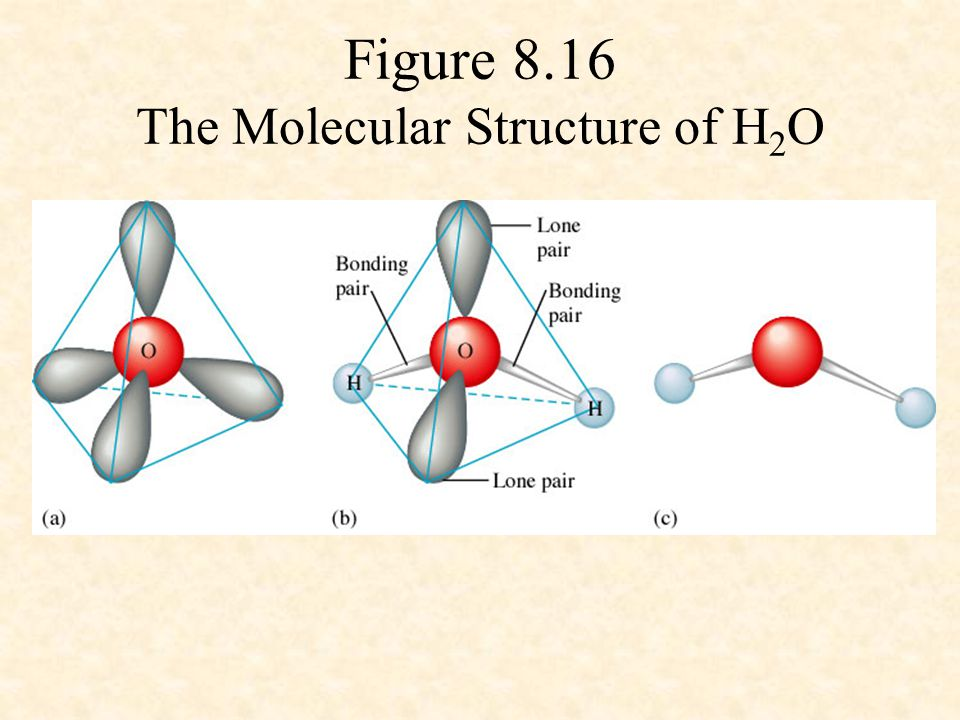 Figure 8.16 The Molecular Structure of H2O