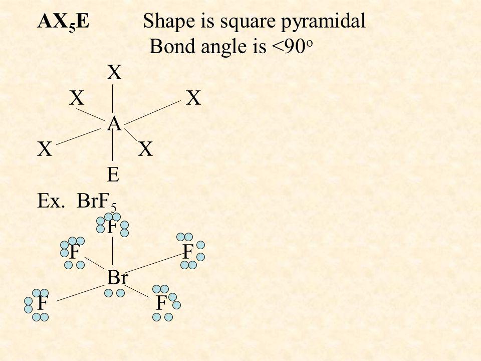 AX5E Shape is square pyramidal Bond angle is <90o X X X A X X E Ex