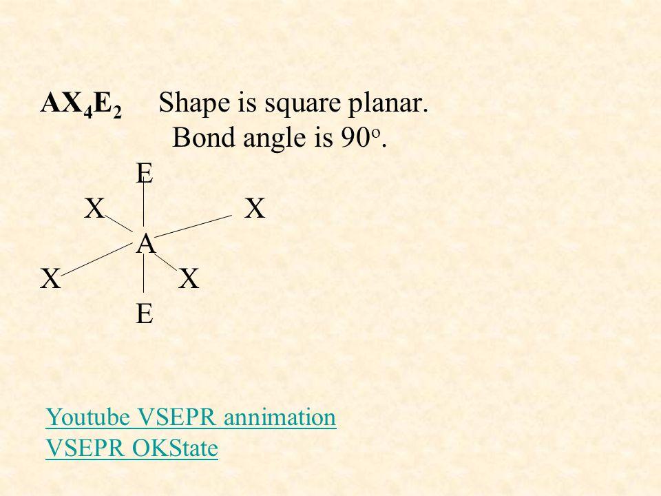 AX4E2 Shape is square planar. Bond angle is 90o. E X X A X X E
