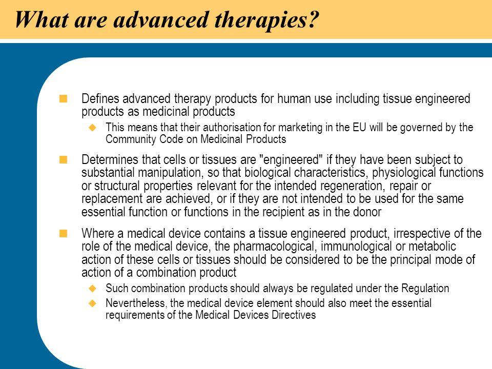 What are advanced therapies