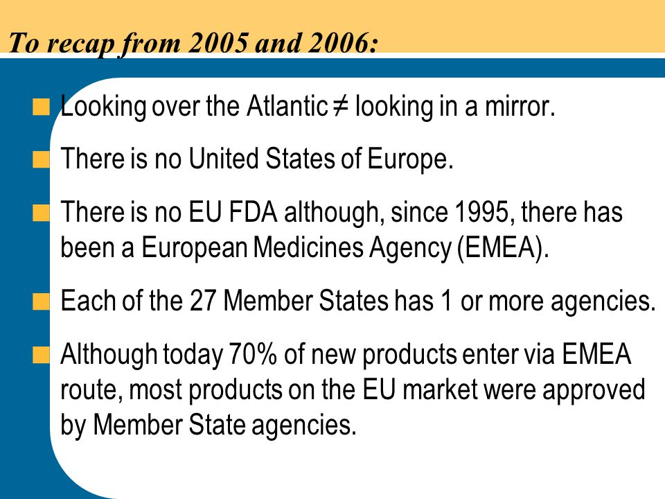To recap from 2005 and 2006: Looking over the Atlantic ≠ looking in a mirror. There is no United States of Europe.