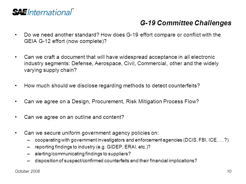G-19 Committee Challenges